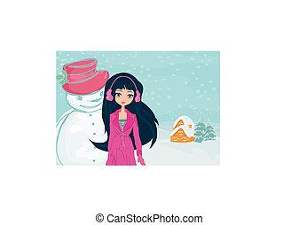 雪だるま, 女の子, カード