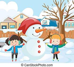 雪だるま, 女の子, 公園, 2, 作成