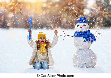 雪だるま, 女の子, 遊び