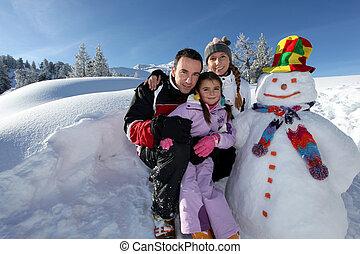 雪だるま, 山, 恋人, ∥横に∥, リゾート, ポーズを取る, 子供
