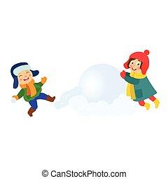 雪だるま, 巨大, 雪玉, 作成, 子供, 子供