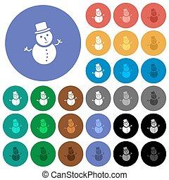 雪だるま, 平ら, multi 有色人種, アイコン, ラウンド