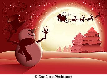 雪だるま, 彼の, santa, 幸福に, -, イラスト, 月, 振ること, フルである, 背景, sleigh, version., 赤