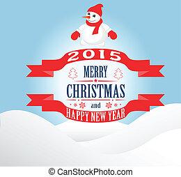 雪だるま, 新しい, クリスマスカード, 年