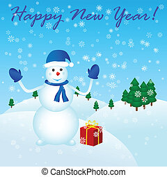 雪だるま, 新しい, 幸せ, 贈り物, 年