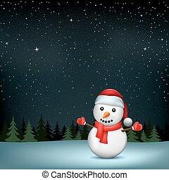 雪だるま, 木, 星, 夜