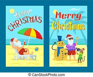 雪だるま, 陽気, claus, 写真, santa, 作成, クリスマス