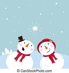 雪だるま, &, -, 雪, ベクトル, woman.