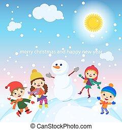 雪だるま, 雪, 挨拶, ベクトル, 子供, クリスマスカード