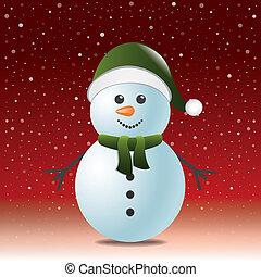 雪だるま, 雪, 赤い背景, 帽子, スカーフ