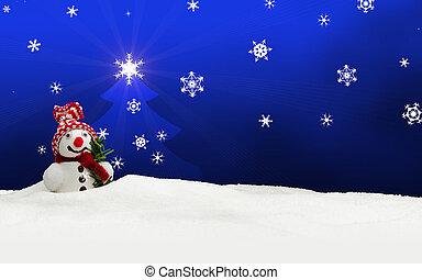 雪だるま, 青, クリスマス, 陽気