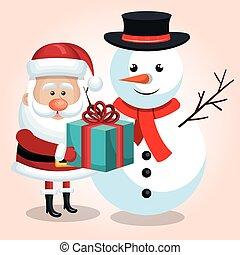 雪だるま, 青, 贈り物, claus, 隔離された, snta, リボン, 幸せ