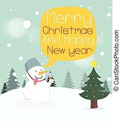 雪だるま, card., 陽気, bubble., クリスマス, 挨拶, スピーチ