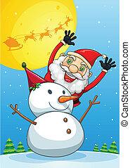 雪だるま, claus, 背中, santa, 幸せ