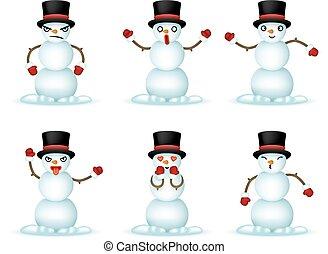 雪だるま, emoticon, セット, アイコン, 隔離された, イラスト, 現実的, ベクトル, デザイン, 微笑, クリスマス, 3d
