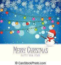 雪だるま, lights., 見る, 立った, クリスマス