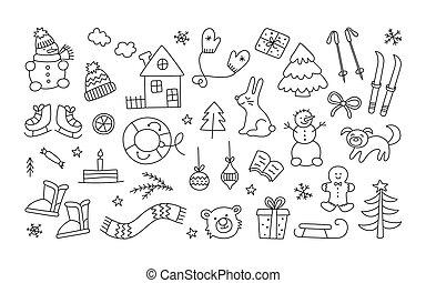雪だるま, style., 冬, いたずら書き, クリスマス, 木。, 帽子, 引かれる, スケート, 手, オブジェクト, セット, ミトン