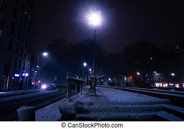 雪で覆われている, パリ, フランス, ランプ, 照明, 通り, ポスト