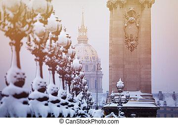 雪で覆われている, パリ, pont, ランタン, iii, alexandre