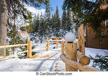 雪で覆われている, 木製の橋, スキー, 町, streetlights