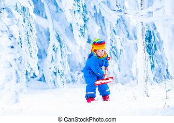 雪シャベル, 冬, 子供