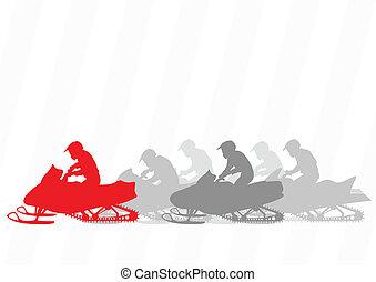 雪上汽車, 摩托車, 騎手, 黑色半面畫像, 插圖, 彙整