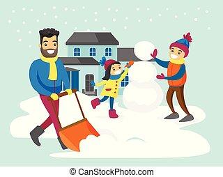 雪人, 他的, 移动, 父亲, 雪, 当时, 孩子, 做