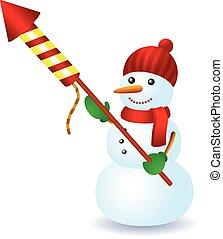 雪人, 冬天, 煙火, 樂趣, 帽子, 圍巾
