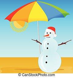 雪人, 在海灘上, 矢量, 插圖