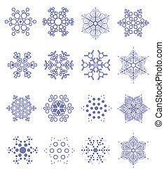 雪片, イラスト, ベクトル, デザイン, 16, element., 冬