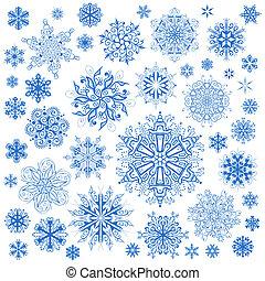 雪片, クリスマス, ベクトル, icons., 雪の薄片, コレクション, グラフィックアート