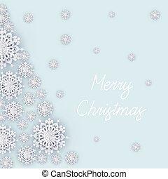 雪片, クリスマス, 背景, 白