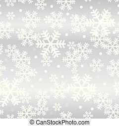 雪片, パターン, seamless, クリスマス, 白熱, 銀