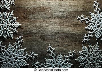 雪片, 上に, 木製である, 背景