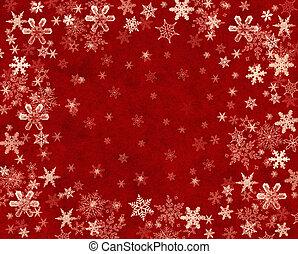 雪片, 上に, 赤