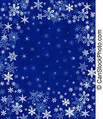 雪片, 上に, 青