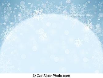 雪片, -, 冬, 背景