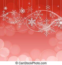雪片, 抽象的, バックグラウンド。, bokeh, ベクトル, 赤