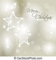 雪片, 星, ベクトル, 背景, 白い クリスマス