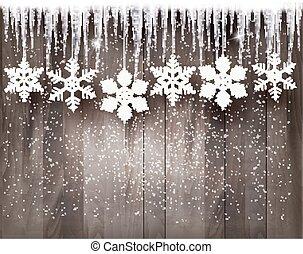 雪片, 木製である, wall., 背景, つらら, 前部, クリスマス, vector.