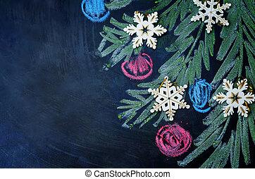雪片, 木, チョーク, 背景, ボール, 引かれる, クリスマス
