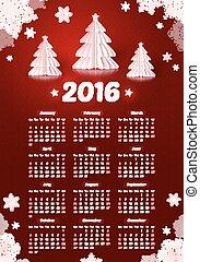 雪片, 白, 木, 暗い, ペーパー, 年, 新しい, カレンダー, 2016, クリスマス, 赤