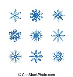 雪片, 白, 隔離された, セット, ベクトル