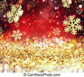 雪片, 金, 抽象的, 白熱, 背景, クリスマス, 赤
