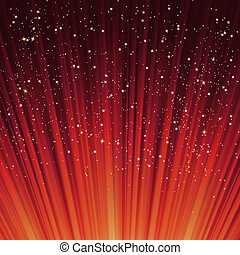 雪花, 以及, 星, 上, a, 路徑, ......的, 紅色, light., eps, 8