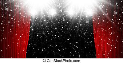 雪, クリスマス, 背景, カーテン, 落ちる, スポットライト, 赤, ステージ