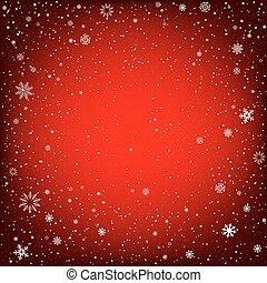 雪, クリスマス, 背景, 赤