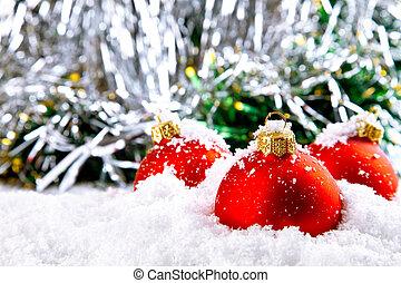 雪, ボール, 装飾, 白, 休日, クリスマス, 赤