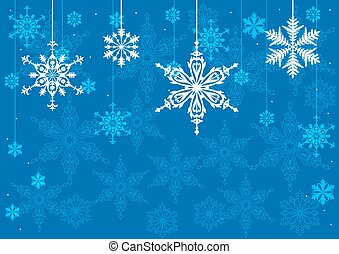 雪, 上に, 青い背景