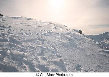 雪, 丘, 上に, 日没